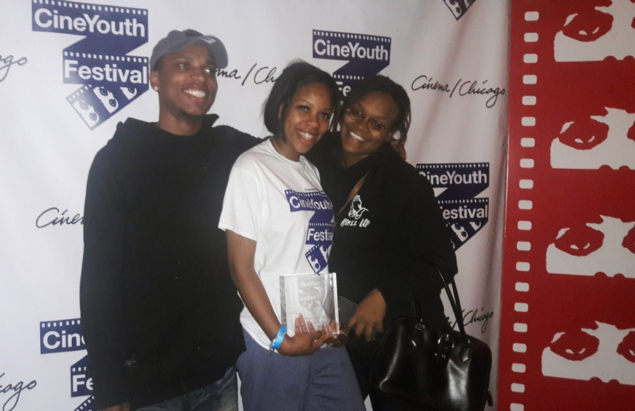"Filmmakers Angelo Ross, Sierra Blackman, and Briona Barker-Davis won the CHICAGO Award by the Chicago International Film Festival's CineYouth Festival for their short film, ""Welcome to the Peace House."" Angelo credits his passion for film and his mentors with helping him achieve his dreams. Photo courtesy of Community TV Network"